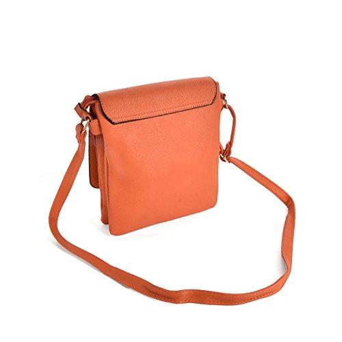 Body PU Cross YOUNG Orange SALLY Bag Women High Detail Strap Boxy Leather Fashion Quality With Lock XRPvU