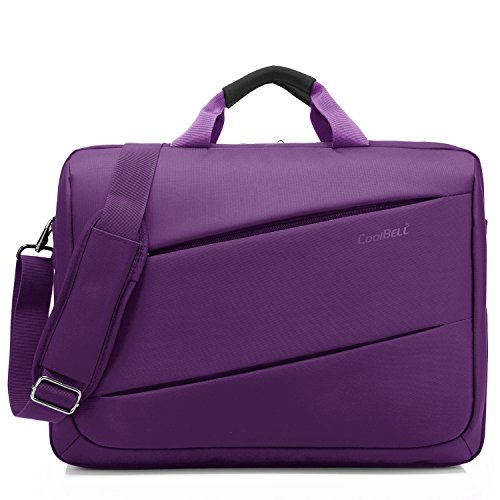 CoolBELL Shoulder Bag 17.3 Inch Laptop Bag Messenger Bag Briefcase Multi-compartment Handbag For Dell Alienware / Macbook / HP / Lenovo / College/Women/Business (Purple) (Multi Messenger)