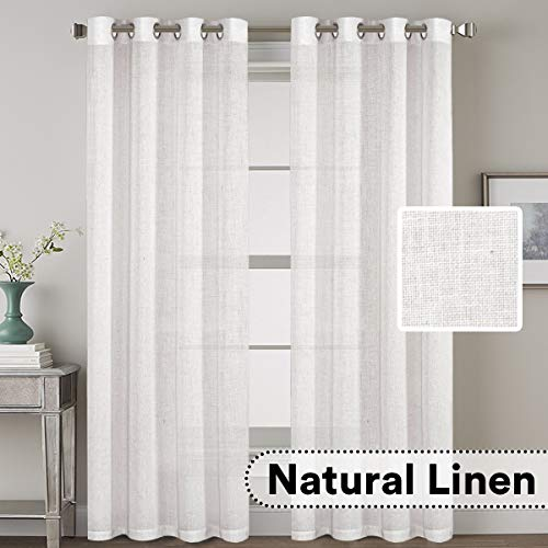- H.VERSAILTEX Elegant Natural Linen Blended Energy Efficient Light Filtering Curtains/Nickel Grommet Window Treatments Panels/Drapes (Set of 2, White, 52