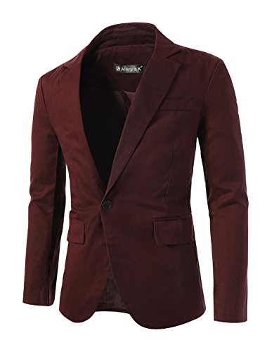 uxcell Men Fully Lined Two Flap Pockets Casual Autumn Blazer Burgundy S (US 36) (Best Jacket To Wear With Jeans)