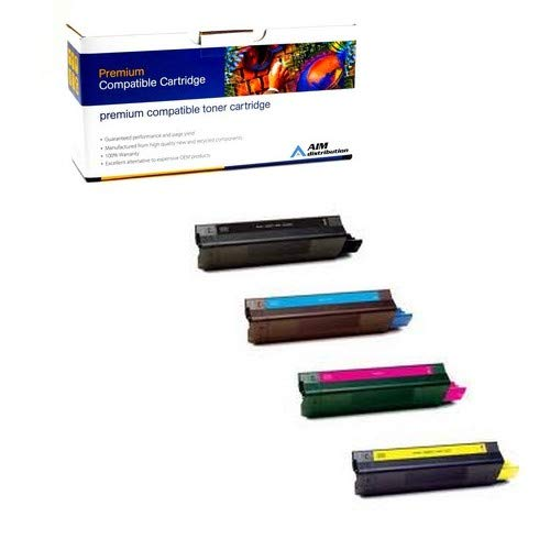 AIM Compatible Replacement for Okidata C5850/5950 Toner Cartridge Combo Pack (BK/C/M/Y) (4386572BCMY) - Generic