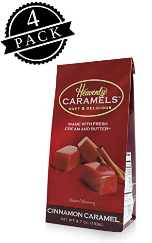 J Morgan Confections Heavenly Caramels, Cinnamon Flavor (4.7 oz bag, 4-Pack); Gourmet, Artisan Soft and Chewy Butter Caramel Candies, Creamy and Smooth, Hand-Crafted Golden Treats