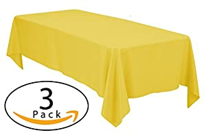 Minel Disposable Party Table Cloths Rectangular 3 Pack Yellow
