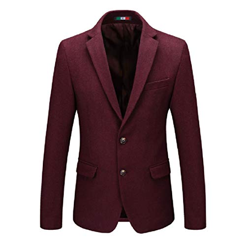 Fitted Wool Luxury Coat Blazer Lapel Mens Red Solid Energy Wine Notch Trench gRaA5qcw