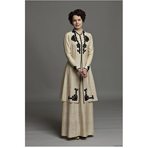 Downton Abbey (TV Series 2010 - 2015) 8 Inch x 10 Inch Photo Elizabeth McGovern White Two Piece Outfit Grey Background -