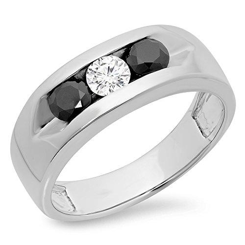 Dazzling Rock 1.10 Carat (ctw) 14K White Gold Real Black ...