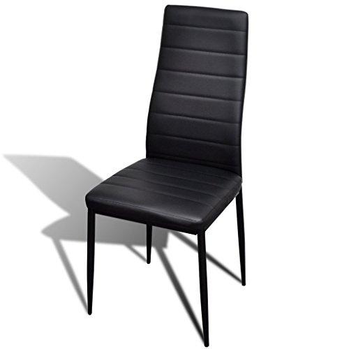VidaXL-Juego de 6 sillas de comedor línea slim, color negro ...