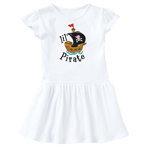 inktastic - Lil' Pirate Pirate Ship, Pink Bandana Toddler Dress 4T White 2a4d9