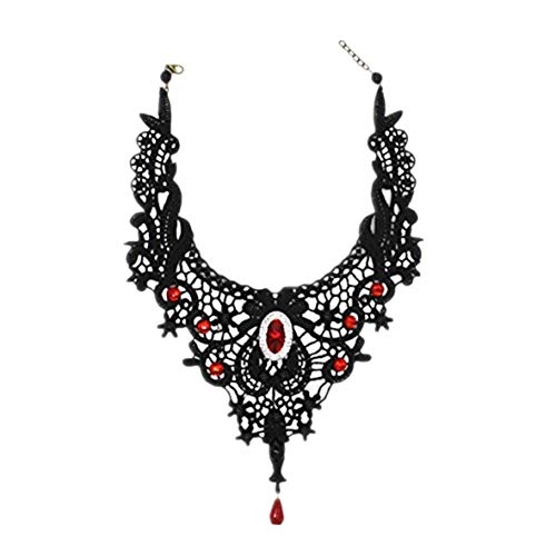 MEiySH-Elegant-Black-Lace-Gothic-Lolita-Red-Pendant-Choker-Necklace-Earrings-Set-Necklace