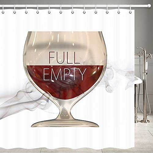 JAWO Red Wine Shower Curtain for Bathroom, Red Wine Romantic Lovers Shower Curtain Set for Bathroom, Fabric Shower Curtain Hooks Include, 72 X 72 Inches