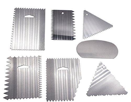 Aluminum Cake Scraper 7pcs/set, KOOTIPS Smoother Comb Set Cake Edge Side Decorating Tools Scraper
