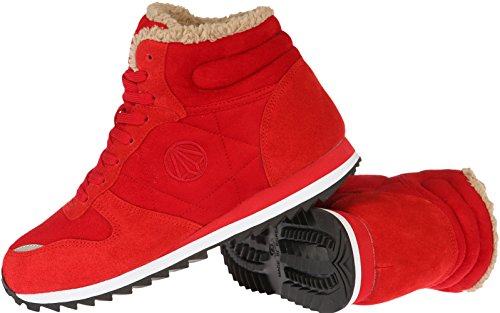 Paperplanes-1315 Casual Lace Up Taller Insole Women Fur Lined Shoes Red pKwEnpiOU