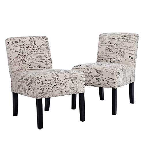 Accent Dining Chair Club Side Upholstered Letter Print Fabric Armless Living Room Chairs - 2 Chairs (Upholstered Club Chairs Small)