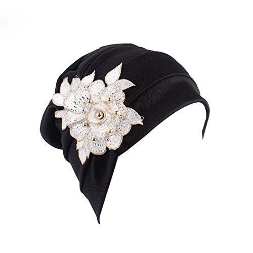Kimloog Chemo Sleep Cap, Pleated Appliques Women's Swim Bathing Turban Head Cover (Black) - Head Applique