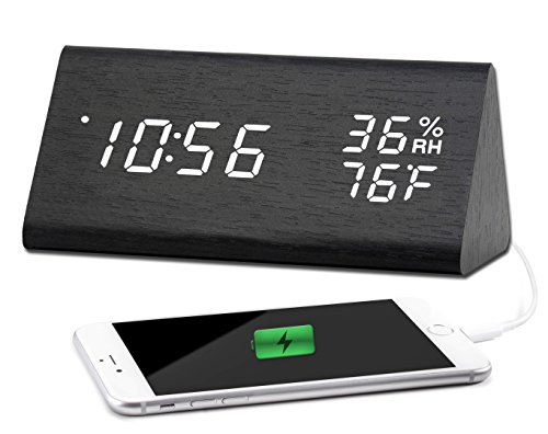Retro Calendar Wall Clock - Desk Clock with USB Charger, Modern Sleek Wooden Texture Design - Digital White LED with Date, Temperature, Humidity and Backup Battery - Desktop Clock for your Office and Home