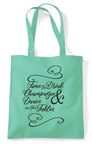 The Bag Hen And Tables Dance Drink Party Shopper Time Tote Customised To Lime On 8WxPRq8a