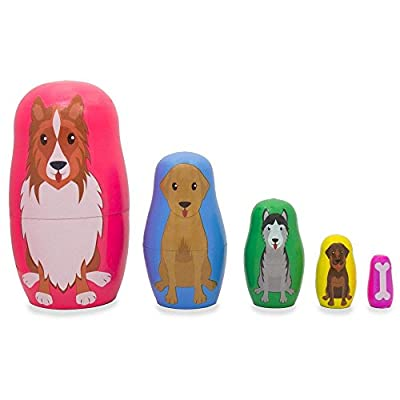 BestPysanky Dogs and Puppies with Bone Animal Wooden Russian Nesting Dolls 4.75 Inches: Toys & Games