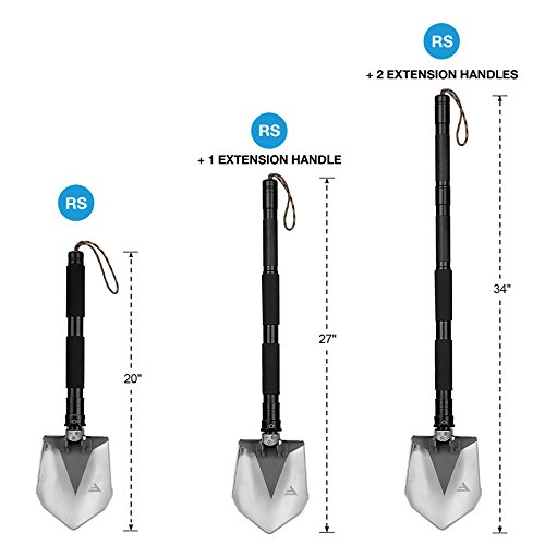 FiveJoy Military Folding Shovel Multitool (RS) Tactical Entrenching Tool w/Case for Camping Backpacking Hiking Car Snow (Extension Handle (2PCS))