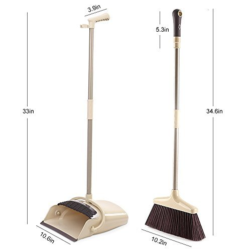 SANGFOR Broom and Dustpan Set Long Handle Dustpan and Lobby Broom Combo Upright Grips Sweep Set with Broom by SANGFOR (Image #1)