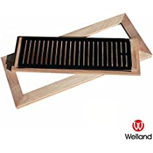 WELLAND 2 Inch x 12 Inch Red Oak Hardwood Vent Floor Register Flush Mount Unfinished with Damper