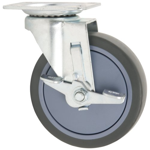 - TPR Rubber Caster Wheel with Swiveling Top Plate w/ Brake  - 5-Inch -  350 lb. Load Capacity  -  Non-Marking for Hospitals, Food Service, & Other Institutional Applications