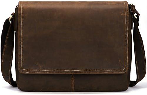 Kattee Vintage Leather Business Messenger Bag 14 inch Laptop Briefcase Crossbody Bags for Men
