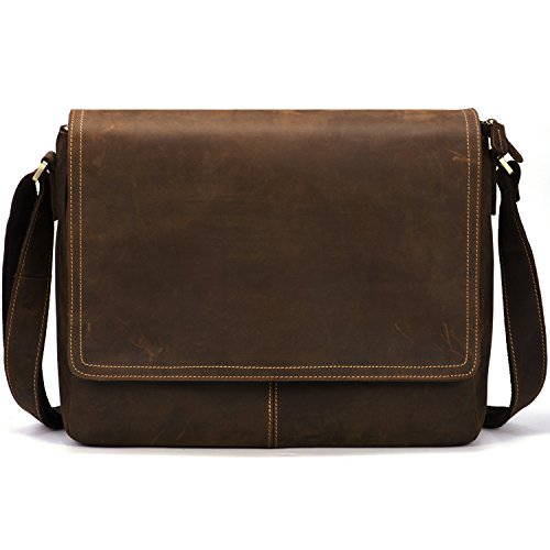 "Kattee Vintage Leather Business Messenger Bag Fits 15"" Laptop"