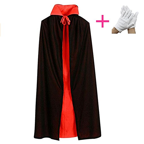LAO SI JI Halloween Party Easter, Devil, Pirate, Vampire, Cloak, Black red Reversible, Size: 55