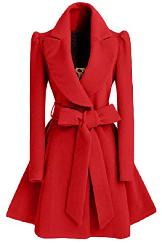 XINHEO Womens Solid Belt Elastic Turn Down Collar Fit Parka Outwear Cardigan Red