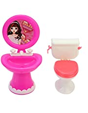 Bathroom Furniture Accessories Plastic Toilet and Sink Set for Doll's House Practical design and Durable