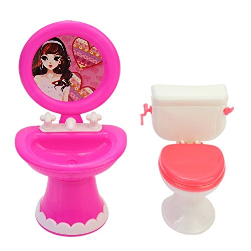 andy cool Bathroom Furniture Accessories Plastic Toilet and Sink Set for Doll's House Useful and Practical