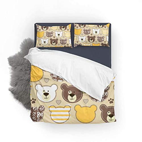 LEFEI Childish Pattern with Teddy Bear Super Soft and Comfortable Touch 3 Piece Premium Bedding Set, 120gsm Microfiber Fabric Bedding Duvet Quilt Cover Sets- Queen -