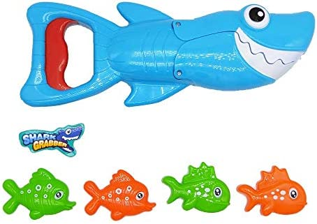 BALOBOO Shark Bath Toy Set Baby Bathub Toys Shark Grabber with Teeth Biting Action Include 4 Toy Fish Preschool Bath Toys for Kids Boys Girls Toddlers Age 3+