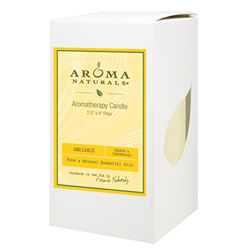 Aroma Naturals Orange and Lemongrass Essential Oil Yellow Scented Pillar Candle, (Aroma Naturals Pillar Candle)
