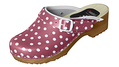 Comfort Red And Dots White Femme Line Mules pour 7fnwq7S4A