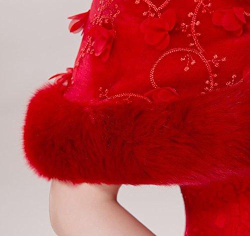 JUNGEN 1 PCS écharpe Banquet Fourrure Chaude Foulards Châle écharpe des Femmes Imitation de Fourrure Rouge