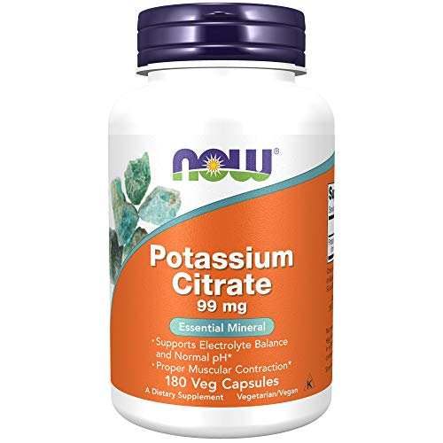 NOW Supplements, Potassium Citrate 99 mg, Supports Electrolyte Balance and Normal pH, Essential Mineral, 180 Veg…