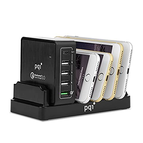 Multiple USB Wall Charger, PQI i-Charger 40W 5-Port Quick Charge 3.0 & Type C with Charging Station for Apple iPhone, iPad, HTC, Samsung Galaxy S7/S6/Edge, LG (Pqi I Cable)