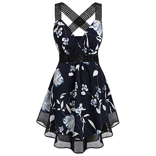 (VICCKI Women's V Neck Plus Size Floral Print Tunic Tank Top Sleeveless Shirts Blouse Navy)