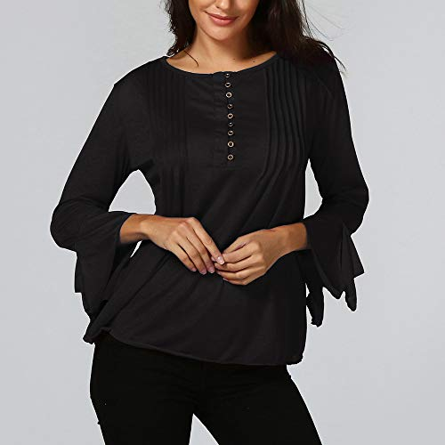 V 2XL Femme Solike Sexy Loose Bouton S Rond Automne Sport Noir Fit Tops Shirt de Col lgant Slim Blouses Manches Col T avec 3 Printemps Tunique 4 qqx4Ezrf