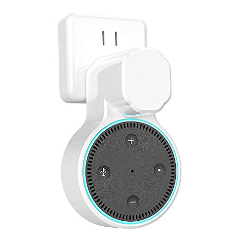 Echo Dot Wall Mount Outlet Holder for 2nd Generation, YIHUNION Hanger Bracket Stand Case for Home Voice Assistants, A Space Saving Solution for Smart Home Speakers Without Messy Wires Screws (White)