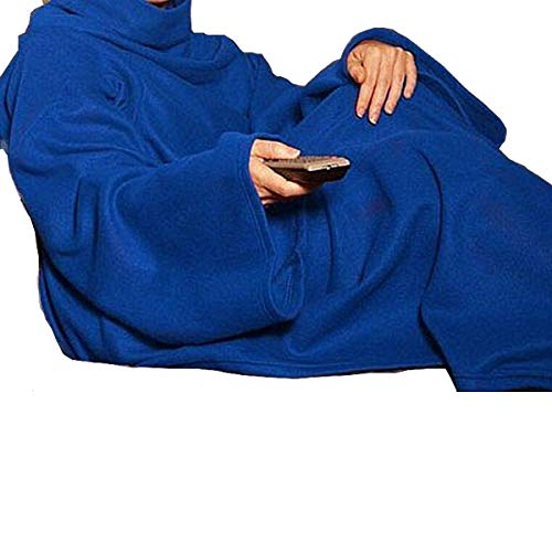 Sherpa Blanket Lightweight Soft Warm with Sleeves Arms Large Fleece Micro Plush Sleeved TV Throws Wrap Robe Blanket for Adult Women and Men (Blue)