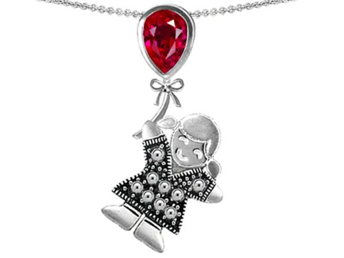 Star K Girl Holding a Balloon Mother July Birth Month Pear Shape Created Ruby Pendant Necklace
