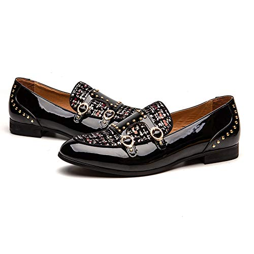 JITAI Men's Loafers Leather Dress Shoes with Metal Button Slip on Wedding Luxury Brand Black Shoes for Men...
