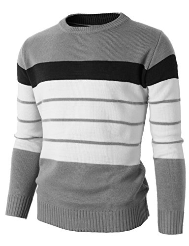 H2H-Mens-Casual-Slim-Fit-Pullover-Lightweight-Thin-Fabric-Sweaters-Stripe-Patterned