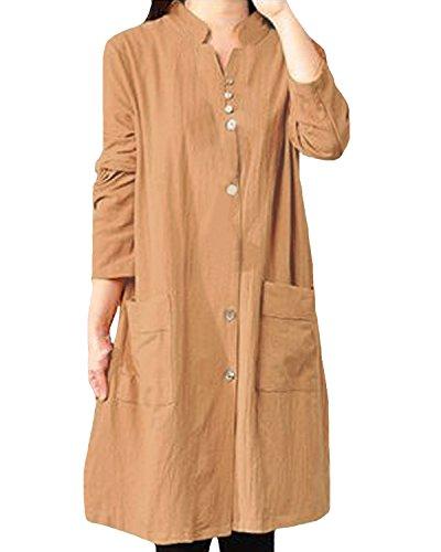 Auxo Womens Cotton Buttons Sleeve