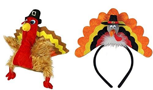 Turkey Trot 5k Costumes (Plush Pilgrim Turkey Hat Trot Headband Thanksgiving Fall Autumn Costume Set)