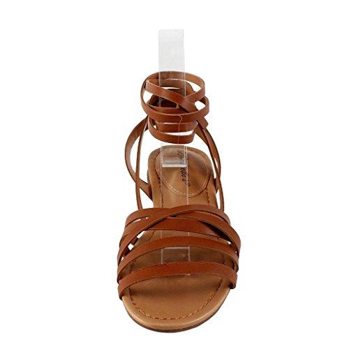 Breckelles Ea54 Dames Kunstleer Open Teen Strappy Slingback Wrap Sandaal Bruin
