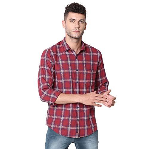 Linen Club Cavallo Maroon Checked Casual Linen Shirt for Men