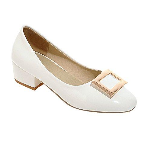 MissSaSa Damen Chunky heel Low cut Lackleder Pumps mit Metall Schmuck Weiß